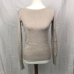 Tan Marled Skinny Crew Neck Sweater by Express